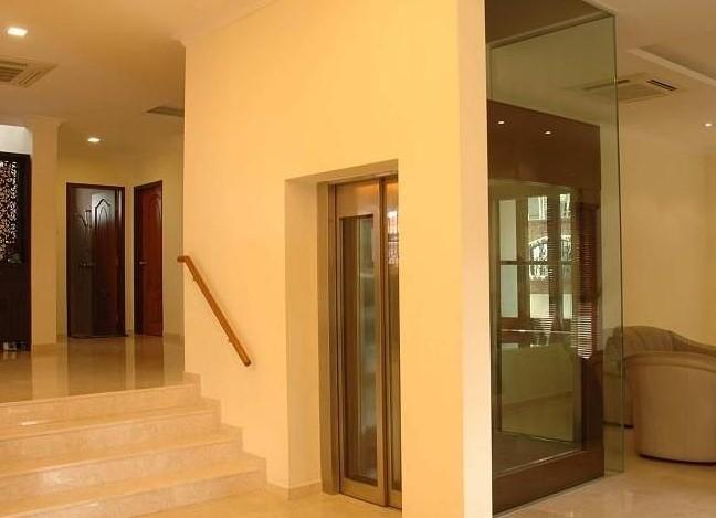 漂亮玻璃型别墅电梯实拍照片